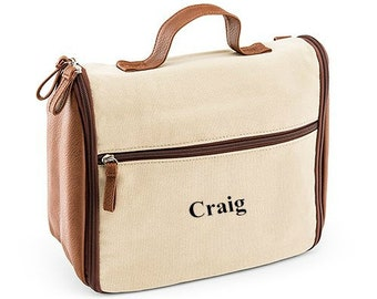 69243b3d79 Personalized Canvas Hanging Toiletry Bag for Men