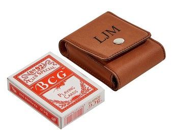 Leather deck box Poker Player Gifts Personalized leather playing card case Playing Card Case Gift for poker players Leather Card Sleeve