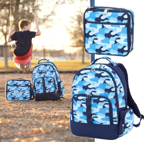 Personalized Backpack and Lunch Box Set Monogrammed Cool Blue  b668fca9037e2