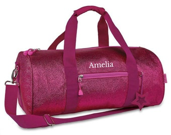 Personalized Pink Sparkle Duffel Bag, Girls Large Glitter Gymnastics Duffle, Raspberry Pink Dance Bag, Cute Personalized Dance Duffel