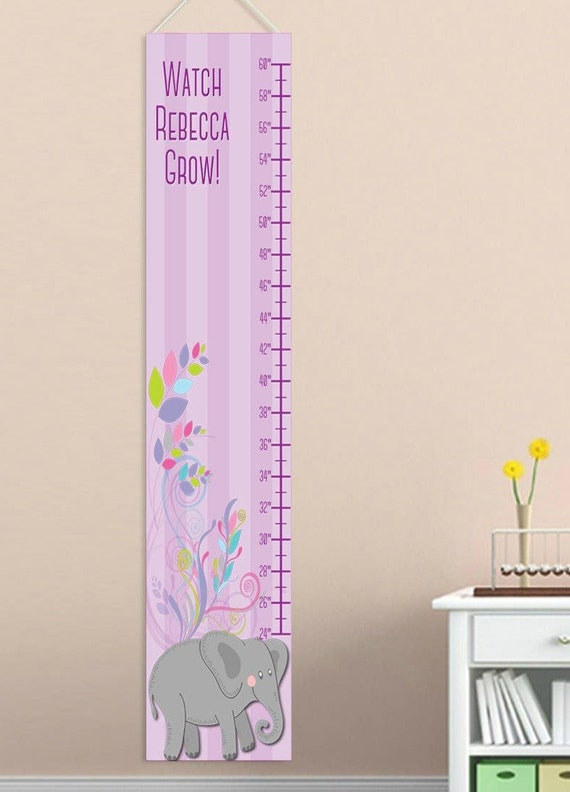Personalized Girls Canvas Growth Chart Flowers And An Etsy