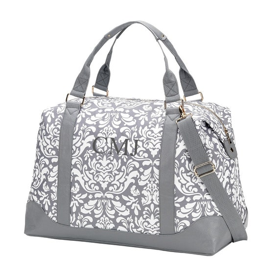 db52661216 Monogrammed Gray and White Damask Weekender Bag Pretty