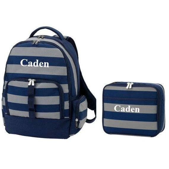 1c685b959d06 Personalized Boys Backpack and Lunch Box Monogrammed Navy