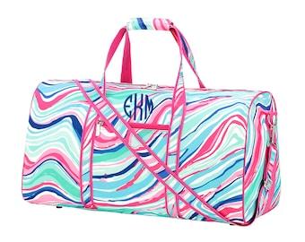 Personalized Girls Women's Duffel Bag, Monogrammed Marble Swirl Overnight Travel Sports Dance Bag, Tween or Teen Birthday or Christmas Gift