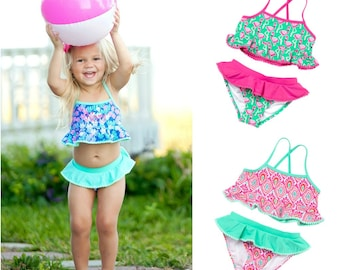 Little Girl Monogrammed Swimsuit, Toddler Girl Personalized Two Piece Bathing Suit, Bathing Suits for Toddlers, Girl Bikini w/ Pom Pom Trim