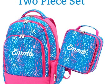 Personalized Backpack and Lunch Box Set, Monogrammed Cute Back to School Bags for Girls, Custom Embroidered Book Bag, Sparktacular Lunch Bag
