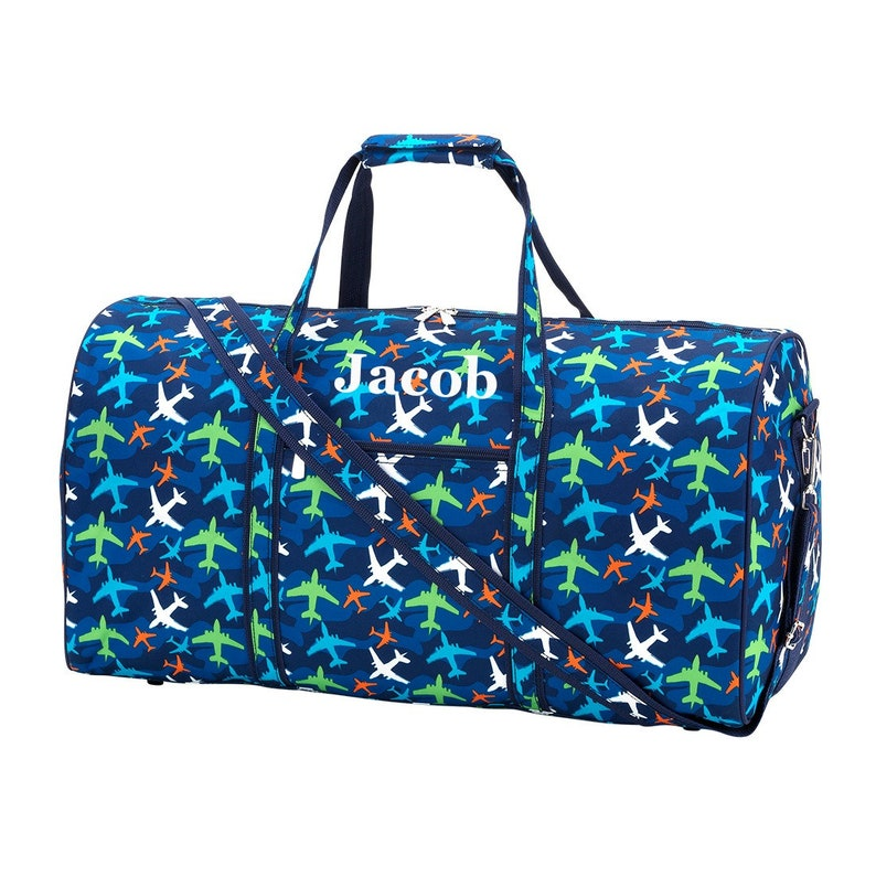 Personalized Airplane Duffel Bag for Boys Kids Monogrammed