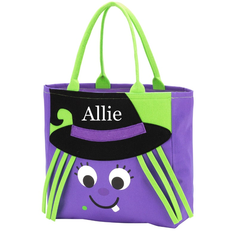 Cute Embroidered Little Girl Character Tote Bag Personalized Girls Witch Halloween Trick or Treat Bag Monogrammed Wanda Witch Candy Bag