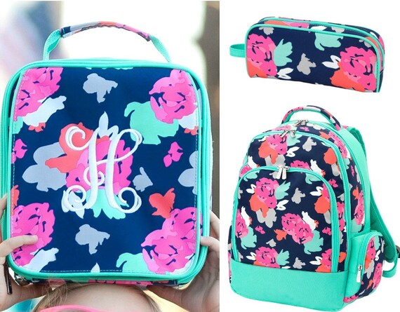 Monogrammed Backpack and Lunch Box Set Personalized Blooming  265963487e1dd