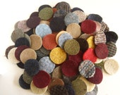 100 PLUS - 1.5 inch wool penny rug circles - MIXED with Primitives and Plaids