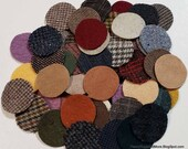 50 - 2 inch wool penny rug circles - MIXED with Primitives and Plaids