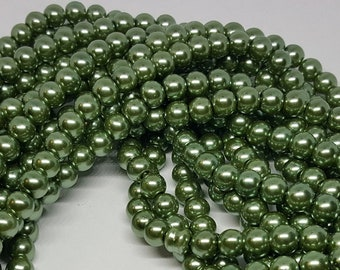 5 PCS Olive Green Glass Pearl Beads,8mm Earrings Pendant Ring material Half Drilled Hole Beaded Wholesale Olive Green Jewelry