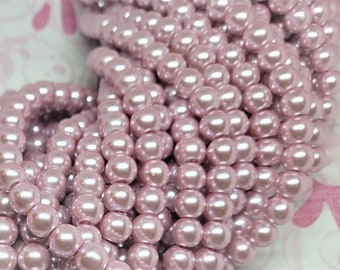 Glass Pearl Beads - 42 pc - Metallic Pink Pearl Beads - Flamingo Pink Pearls - Wedding Pearls -  8mm - Round - Dyed - Pink Pearl Beads