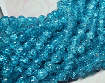 Crackle Glass Beads - 10mm - Approx. 40 Beads - Turquoise Crackle Glass Beads - Turquoise Crackle Beads