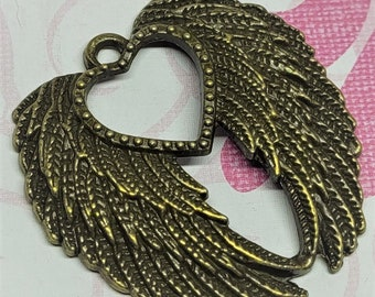 Heart Wing Charms - 1pc. - Angel Wing Pendant - Antiqued Bronze Wings Charm - Double Wings Charm  - One Sided Charm - Angel Wings