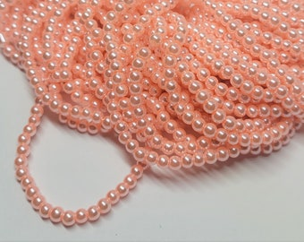 4mm Glass Pearls - Approx. 210 pcs - Salmon Pink Beads - Round - Pink Pearl Beads - Salmon Pink Pearls - Light Pink Pearls