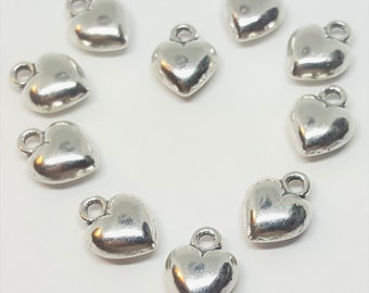 Puffy Heart Charms - 10 pcs. - Solid Heart Charms - Antique Silver Heart Charms - Tiny Heart Charms - Heart Charms  - Silver Hearts - Charms