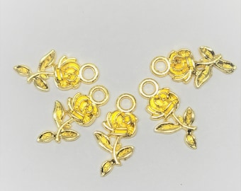 Golden Rose Charms - 10 pcs - Gold Rose - Wine Charms - Gold Tone Flower Charms - Rose Charms - Flower Charm - Gold Charm