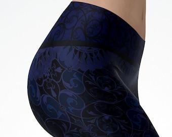 Midnight Blue Bandana Print Leggings Full Length Women's Yoga Workout Pants
