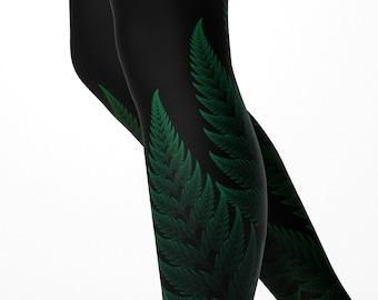 Fractal Fern Leggings Psychedelic Forest Yoga Pants