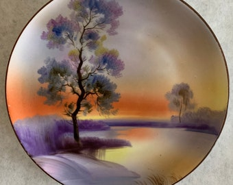 1920s to 1930s Gilded Rim Sunset Marsh Scene Nature Scene Decorative River Hand Painted Made in Japan Takito Swan Plate Green