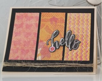 All Occasion Handmade Card  / Hello / Blank / Dimensional / Floral / Butterfly / Chevron/ Orange Pink