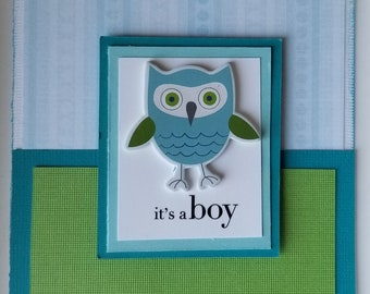 Baby boy Card / Owl /Green Blue / New baby / shower