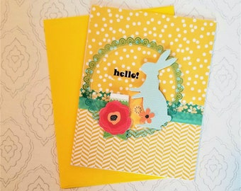 Hello All Occasion Card / Handmade Card  / Blank / Dimensional flower and chipboard