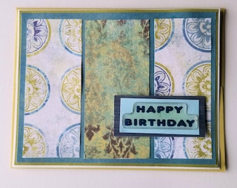 Birthday Card / Happy Birthday Card / Green Blue / Birthday card for him / Birthday Card for her