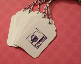 Tags Cheers with Wine Glass - Party Favors - Gift Packaging - Hand stamped with Envelope Option