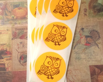 Sticker Brown Owl Handstamped Orange Fall Envelope Seal Set of 15