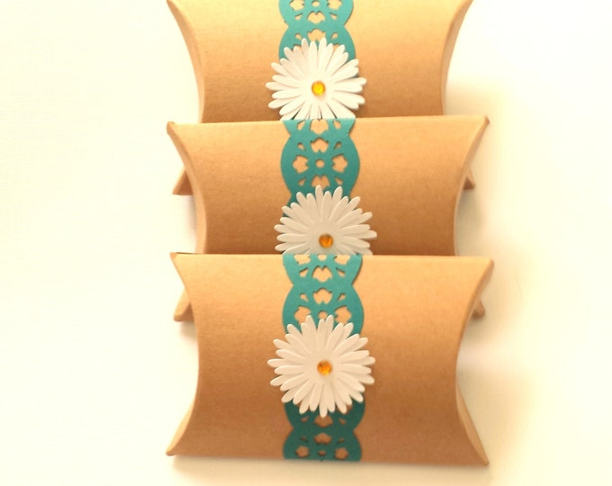 Featured listing image: PILLOW BOXES / Small Kraft Boxes + Paper Lace Border and Daisy / Set of 3 with Labels