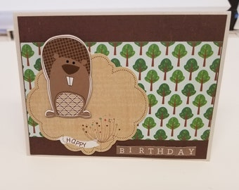 Squirrel Birthday Card / Happy Birthday Card / Green Tree Card / Birthday card for him / Birthday Card for her