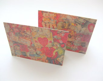 CARD / Valentine / Retro Sweet Vintage Style / Set of 2