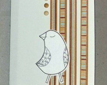 Blank Notecard  / canvas bird / friend birthday / free custom inside message / All Occasion handmade card / free shipping