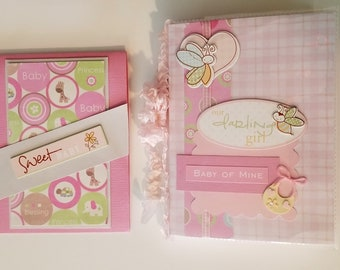 Baby Girl Mini Scrapbook Photo Album / 28 page with Card / Baby Shower Gift / Party Favor / New Mother