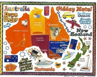 Australia Stickers / NRN 1 Sheet / Vacation Travel Scrapbook / Teacher Student Project Supplies / Geography Projects