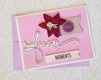 Valentine / Anniversary / Wedding / Bridal Shower / Handmade Card  / Blank / Dimensional flower and chipboard