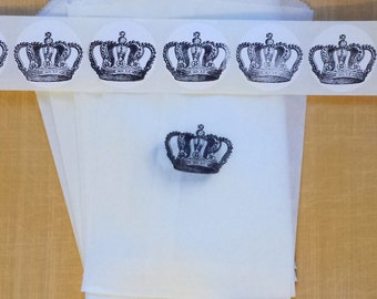 CROWN BAGS + STICKER set of 10 / Gift Party Favor Packaging Set / Glassine Bags - Hand Stamped Crown Labels / 4 1⁄2 x 6 3⁄4""