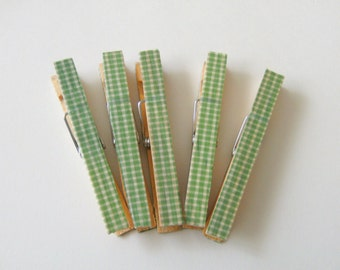 CLIPS Clothespins / Office Party Supplies /  Green Gingham Rustic Christmas Full Size Set of 10