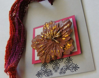 Gift Tag Set of 2  Neutral Tan and Burgundy with Yarn