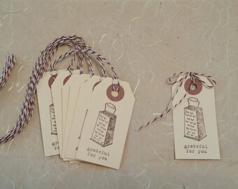 Manilla Tags Grateful For You Thank You - 8 / Food Grater /  Gift Packaging Party Favors - Hand stamped / Envelope Option