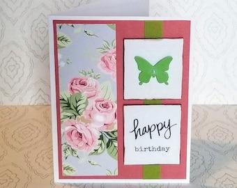 Birthday Handmade Card  / Blank / Dimensional Butterfly