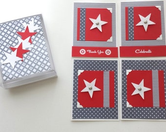 CARD SET / Thank you / Military / Veterans / Blank / Celebrate / Patriotic 4th July / Red White and Blue