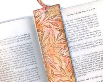 Handmade Bookmarks - 10 Fall Autumn Embossed Leaves Beads