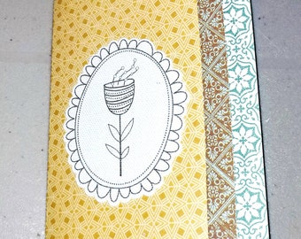 Blank Notecard  / canvas flower sticker / All Occasion handmade card