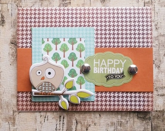 Happy Birthday Handmade CARD / Unisex / Nature / Child / Owl / FREE SHIPPING