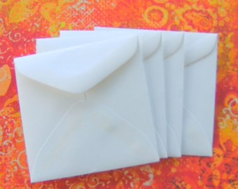 Small Mini Square Envelopes White Set of 8