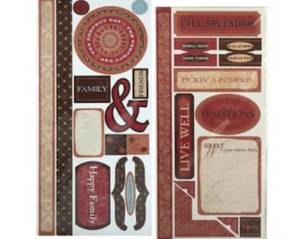 Family Stickers / Cardstock Weight / 30 + stickers / fall heritage / card makers / scrapbook / junk journal / mixed media supplies