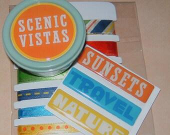 Travel scrapbook card embellishment set Brads Adhesive Ribbon Stickers
